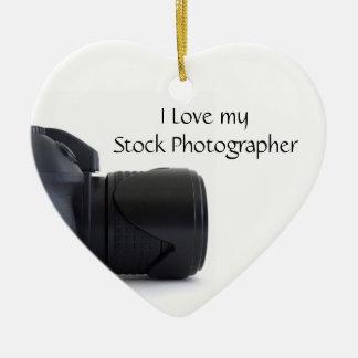 I love my Stock Photographer Ceramic Ornament
