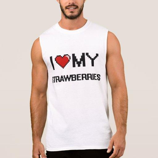I Love My Strawberries Digital design Sleeveless Shirt Tank Tops, Tanktops Shirts