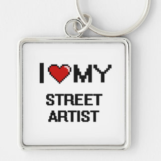 I love my Street Artist Silver-Colored Square Keychain