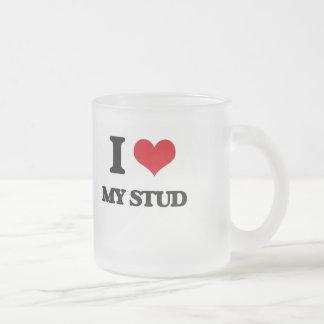 I love My Stud 10 Oz Frosted Glass Coffee Mug