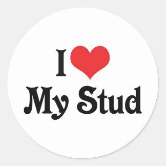 I Love My Stud Classic Round Sticker