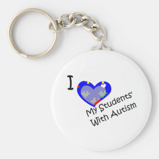 I love my students' with autism basic round button keychain