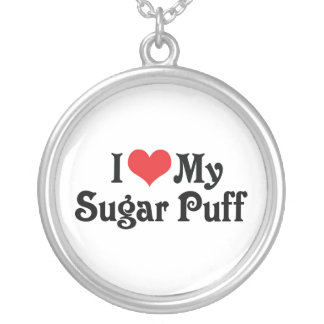 I Love My Sugar Puff Silver Plated Necklace