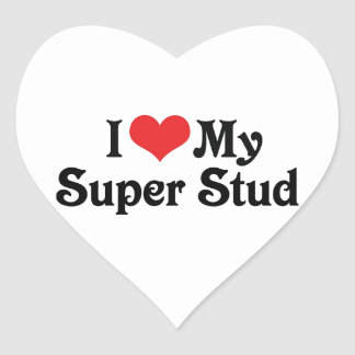 I Love My Super Stud Heart Sticker