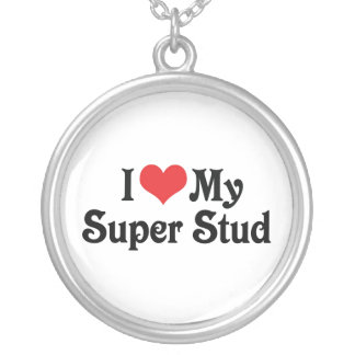 I Love My Super Stud Silver Plated Necklace