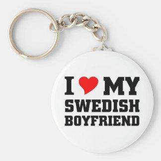 I love my swedish boyfriend basic round button keychain