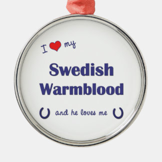 I Love My Swedish Warmblood (Male Horse) Christmas Tree Ornament