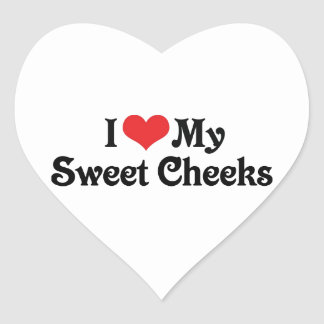 I Love My Sweet Cheeks Heart Sticker