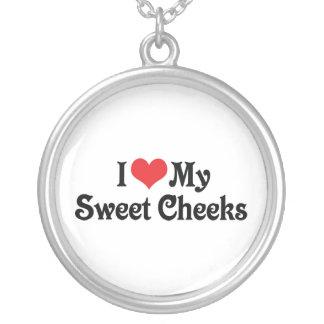 I Love My Sweet Cheeks Round Pendant Necklace