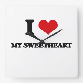 I love My Sweetheart Square Wallclocks