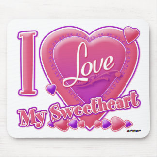I Love My Sweetheart pink/purple - heart Mouse Pad
