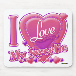 I Love My Sweetie pink/purple - heart Mouse Pad