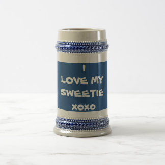 """""""I LOVE MY SWEETIE xx"""" Beer Steins Beer Mugs"""