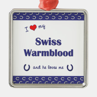 I Love My Swiss Warmblood (Male Horse) Square Metal Christmas Ornament