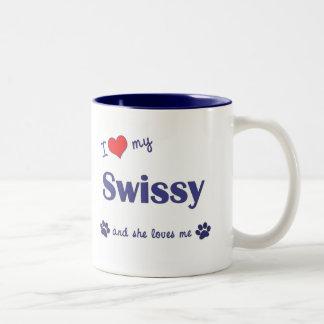 I Love My Swissy (Female Dog) Two-Tone Coffee Mug