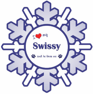 I Love My Swissy (Male Dog) Photo Sculpture Ornament