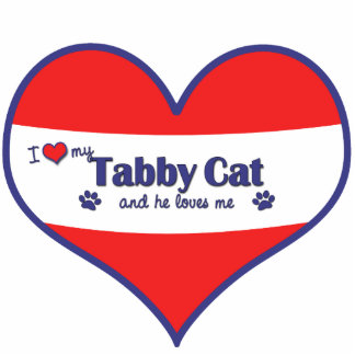 I Love My Tabby Cat (Male Cat) Photo Sculpture Ornament