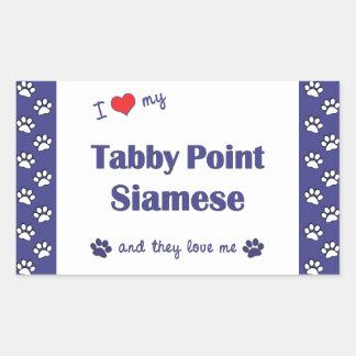 I Love My Tabby Point Siamese (Multiple Cats) Rectangular Sticker