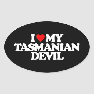 I LOVE MY TASMANIAN DEVIL OVAL STICKER