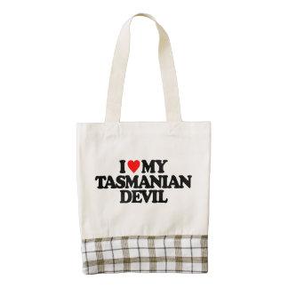 I LOVE MY TASMANIAN DEVIL ZAZZLE HEART TOTE BAG