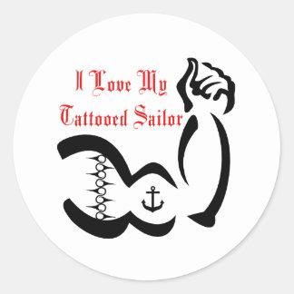 I Love My Tattoed Sailor Round Stickers