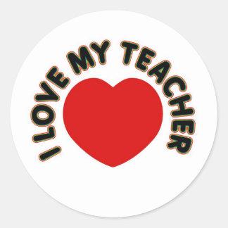 I Love My Teacher (heart) Classic Round Sticker