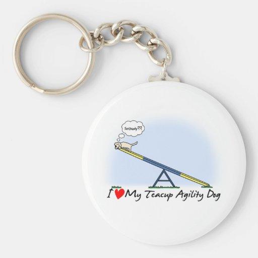 I Love my Teacup Agility Dog Keychain