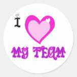 I LOVE My Team Classic Round Sticker