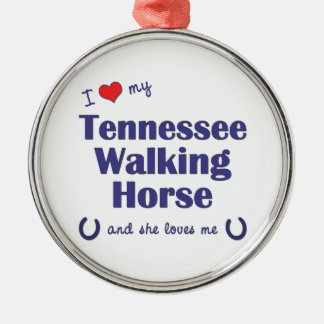 I Love My Tennessee Walking Horse (Female Horse) Christmas Ornaments