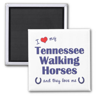 I Love My Tennessee Walking Horses (Multi Horses) 2 Inch Square Magnet
