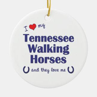 I Love My Tennessee Walking Horses (Multi Horses) Christmas Tree Ornaments