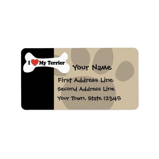I Love My Terrier - Dog Bone Custom Address Labels