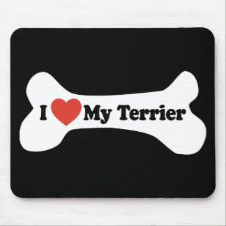 I Love My Terrier - Dog Bone Mouse Pad