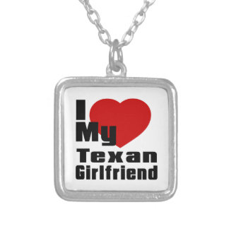 I Love My Texan Girlfriend Square Pendant Necklace