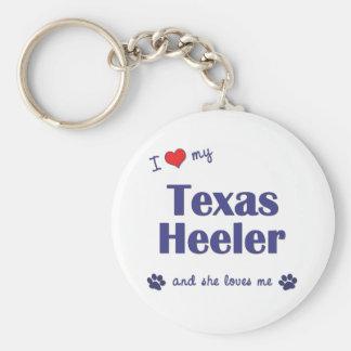 I Love My Texas Heeler (Female Dog) Basic Round Button Keychain