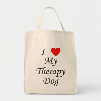 I Love My Therapy Dog Tote Bag