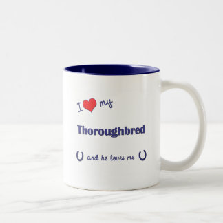 I Love My Thoroughbred (Male Horse) Two-Tone Coffee Mug