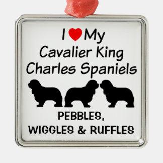 I Love My Three Cavalier King Charles Spaniel Dogs Metal Ornament
