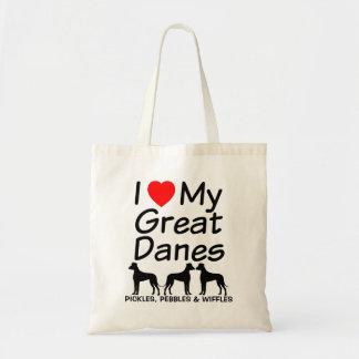 I Love My THREE Great Dane Dogs Tote Bag