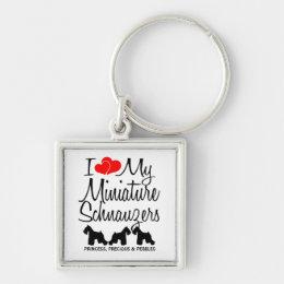 I Love My Three Miniature Schnauzers Keychain
