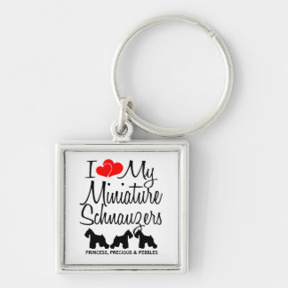 I Love My Three Miniature Schnauzers Keychain