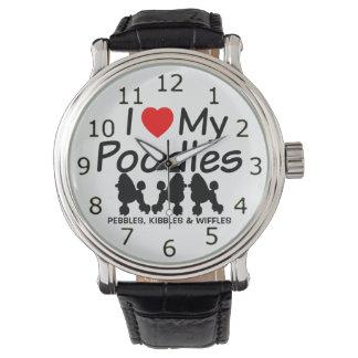 I Love My THREE Poodle Dogs Wristwatch