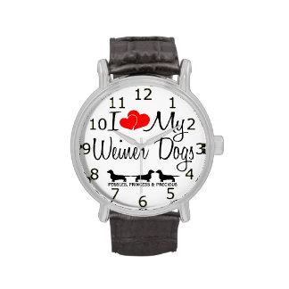 I Love My Three Weiner Dogs Wristwatches