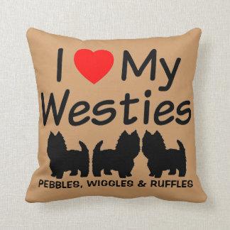 I Love My Three Westie Dogs Pillow