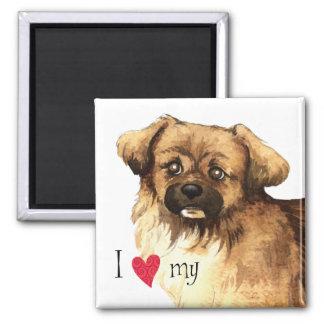 I Love my Tibetan Spaniel 2 Inch Square Magnet