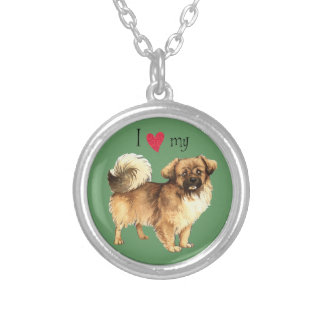 I Love my Tibetan Spaniel Silver Plated Necklace