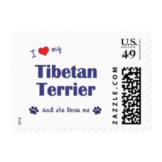 I Love My Tibetan Terrier (Female Dog) Postage Stamps