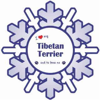 I Love My Tibetan Terrier (Male Dog) Photo Sculpture Ornament