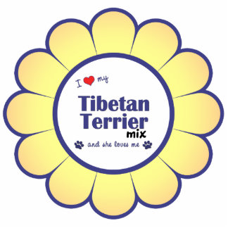 I Love My Tibetan Terrier Mix (Female Dog) Photo Sculpture Ornament