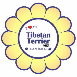 I Love My Tibetan Terrier Mix (Male Dog) Photo Sculpture Ornament